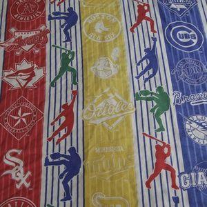 90s MLB Major League Baseball Teams Flat Bed Sheet